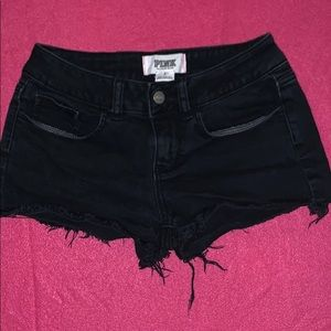 PINK Frayed Black Shorts